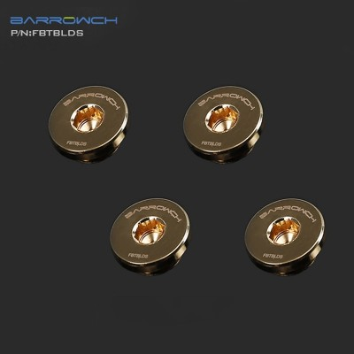 (Set 4Pcs) Barrowch ultra-thin Inner six angle Stop Plug Fitting Gold