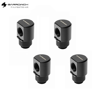 (Set 4Pcs) Barrowch 90°Rotary Adapter with smooth surface Black