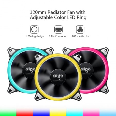 Aigo RGB  Fan 120mm  Pack 5pcs (5ตัว)