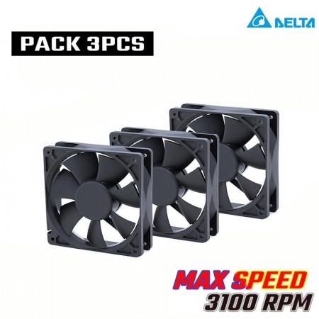 (PACK 3) DELTA 120MM 3100RPM AFB1212VH  COOLING FAN PWM (พัดลม DELTA รอบจัด 3100 RPM รับประกัน 1 ปี)