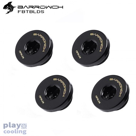 (Set 4Pcs) Barrowch ultra-thin Inner six angle Stop Plug Fitting Black