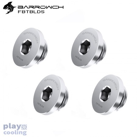 (Set 4Pcs) Barrowch ultra-thin Inner six angle Stop Plug Fitting Matt Silver