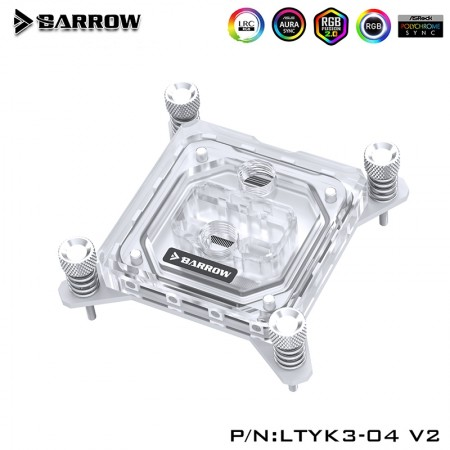 Barrow INTEL 1151/1155/1200  platform Acrylic Aurora CPU Water Block White(รับประกัน 1 ปี)