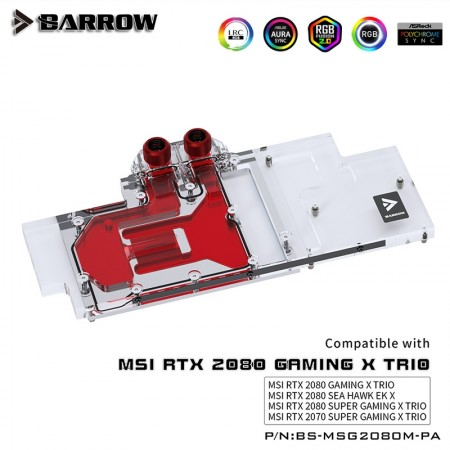MSI RTX2080 2070SUPER GAMING X TRIO Full coverage Barrow GPU water block