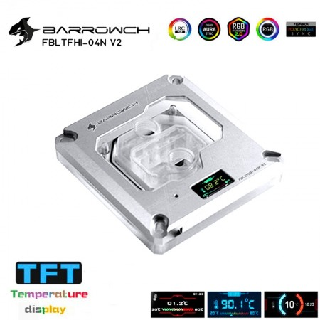 Barrowch 1151/1200 / x99/x299 platform Color screen version digital display  CPU water block  Silver (รับประกัน 1 ปี)