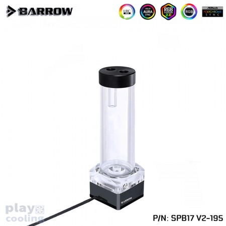 Barrow pump SPB17 195 V2 PWM-17W Aurora RGB (DDC Water Pump-Reservoir) Classic Black (รับประกัน 1 ปี )
