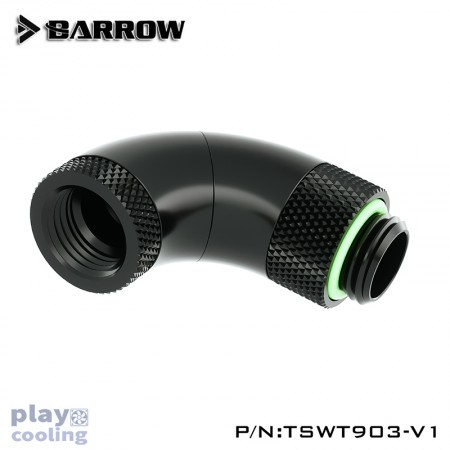 Barrow 90°Snake 3-way Rotary  Adapter Black
