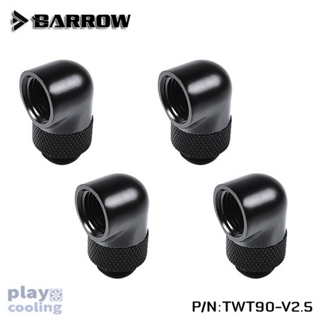 (Set 4Pcs) Barrow 90°Rotary Adapter (Male to Female) Black