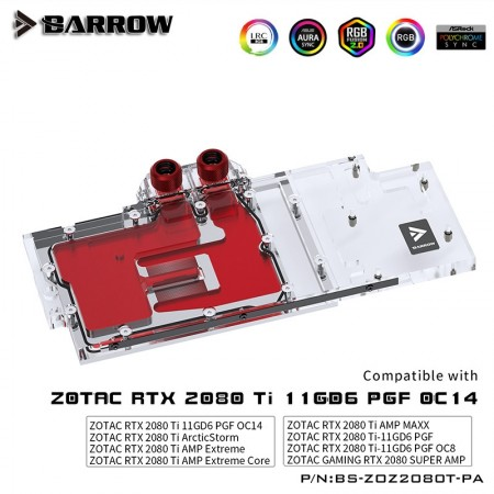 ZOTAC RTX2080Ti AMP EXTREME Full Coverage Barrow GPU Water Block