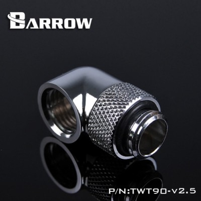 (Set 6Pcs) Barrow 90°Rotary Adapter (Male to Female) Silver
