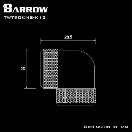 Barrow Double hard tube 90° Multi-Link Adapter 12mm glod