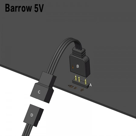 (สายแปลง Barrow RGB ลงเมนบอร์ด) Barrow 5V Aurora The motherboard and lamp control connection line