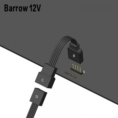 Barrow 12V RGB The motherboard and lamp control connection line (สายแปลง RGB ลงเมนบอร์ด)