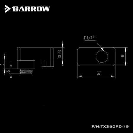 Barrow G1/4' 360°rotation offset adapter 15MM Black