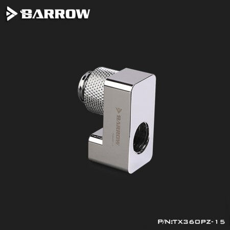 G1/4' 360°rotation offset adapter 15MM silver