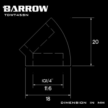 Barrow 45°Adapter ( Female to Felame ) white