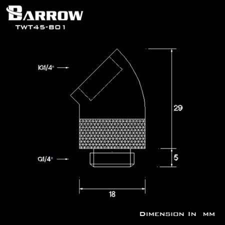 Barrow 45°Rotary Adapter (Male to Female) black