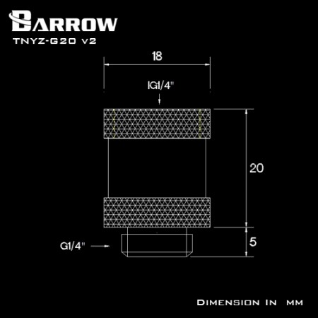Barrow Male to Female Extender v2 - 20mm white