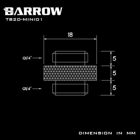 "Barrow Mini Dual Male G1/4"" Extender black"