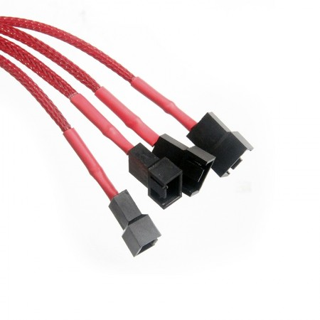 Molex Fan Hub Extension Cable Molex 4Pin one point to 4way Red (สายถักMolex 4way สีแดง)
