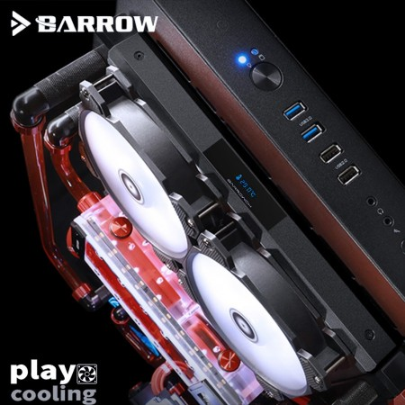 BARROWCH Chameleon Fish series removable 120 radiator with display screen PMMA edition black (มีจอ LED วัดอุหภูมิ รับประกัน 1 ปี)