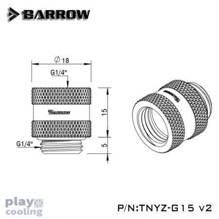 Barrow Male to Female Extender V2 - 15mm Gold
