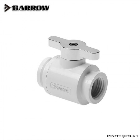 Barrow Mini Valve (with Brass plated handle-Silver shiny) White (วาวล์ชุดน้ำ)