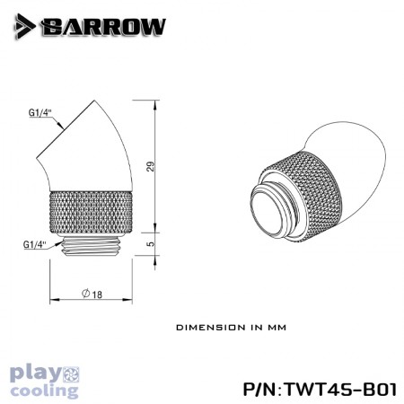 Barrow 45°Rotary Adapter (Male to Female) gold