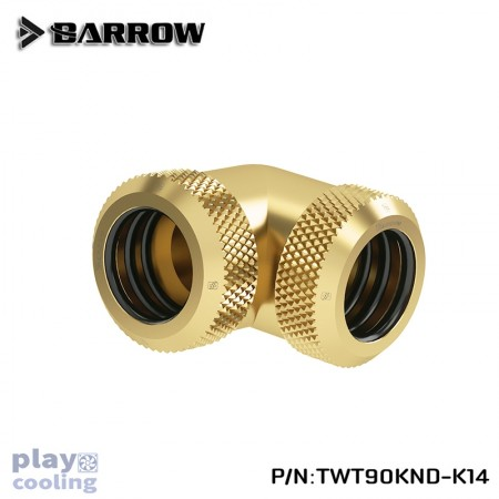Barrow Double hard tube 90° Multi-Link Adapter 14mm Gold
